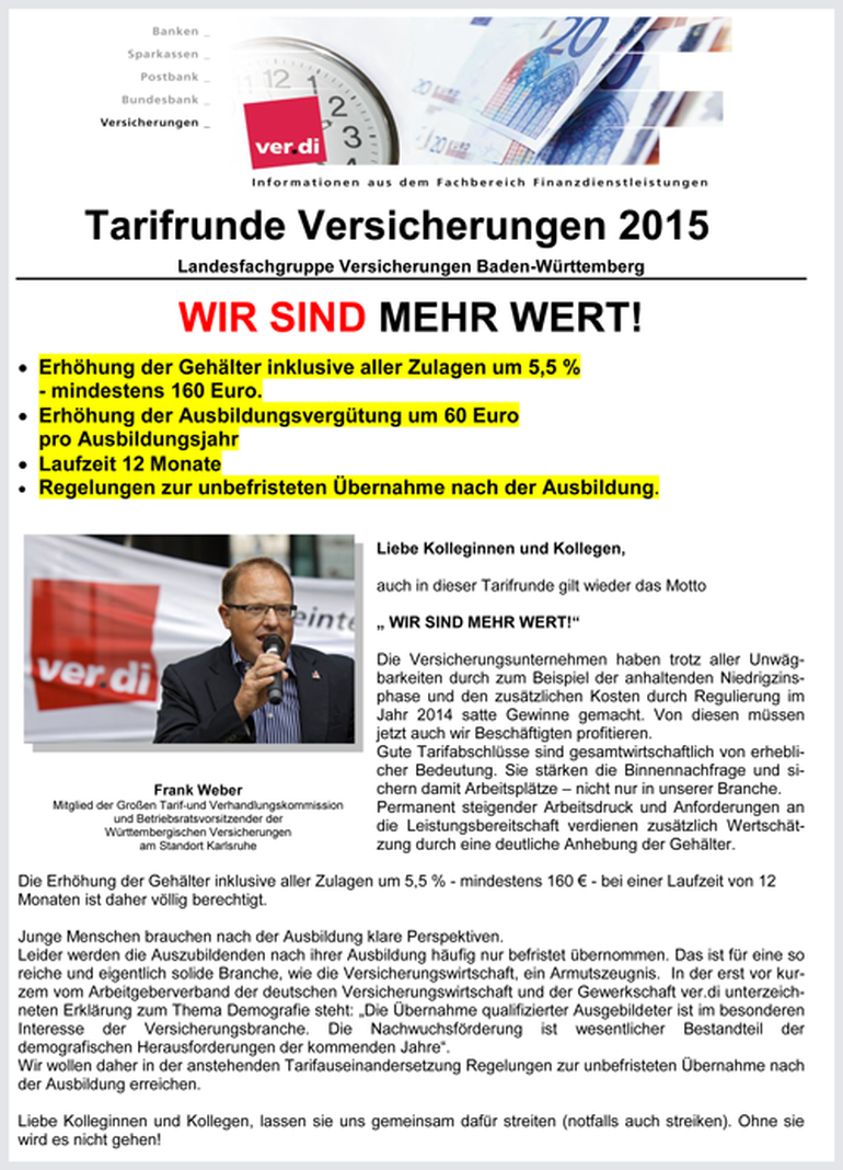 Abbildung: Auftaktflugblatt 2015 Versicherungen