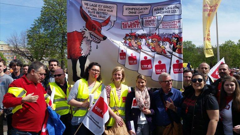 Beschäftigte der sparkassen Waiblingen streiken am 12.4.2018